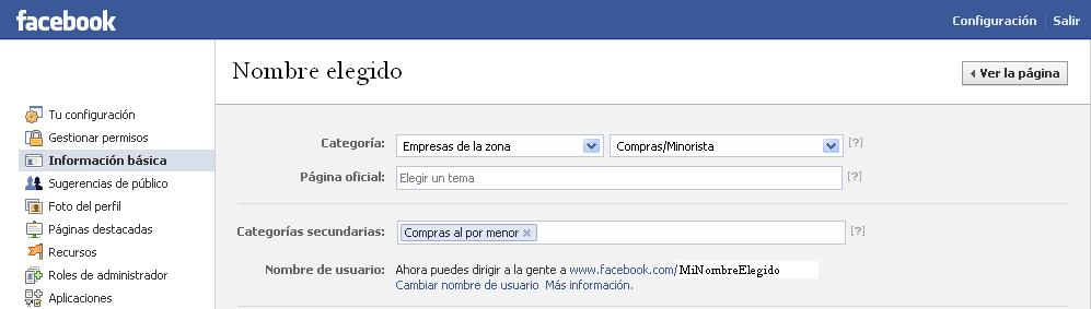 Facebook elegir nombre de usuario