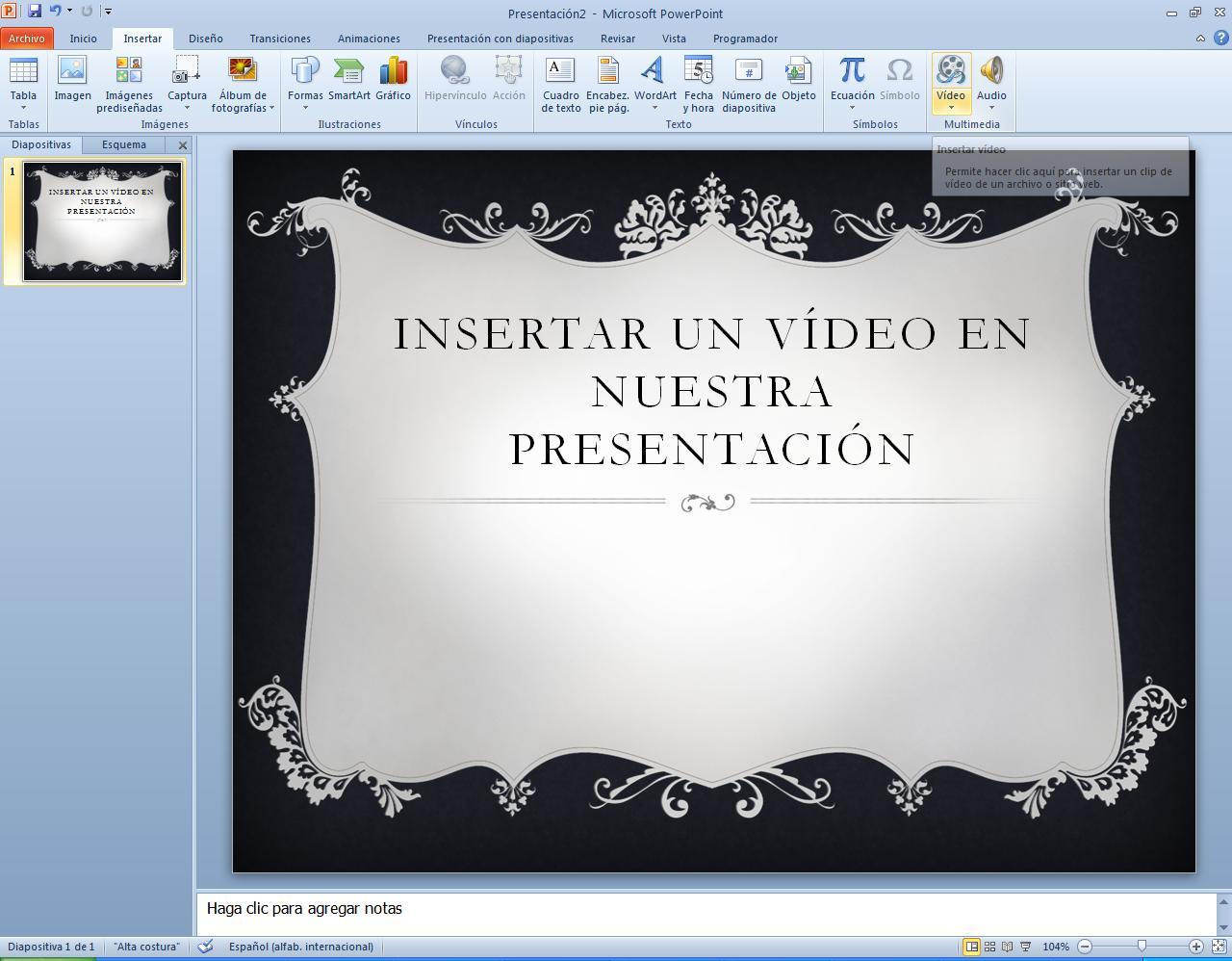 Insertar vídeo 01